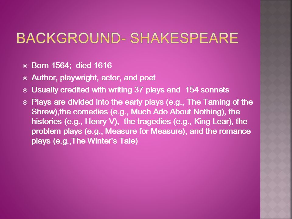 Background- Shakespeare