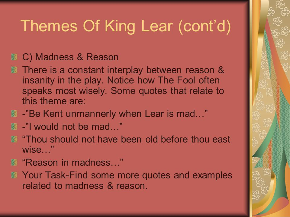 Theme Of Madness King Lear King Lear Advanced York Notes Online Book Stores also What Is The Thesis Of A Research Essay  High School Entrance Essay Examples