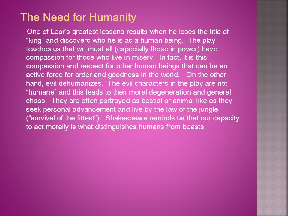 The Need for Humanity