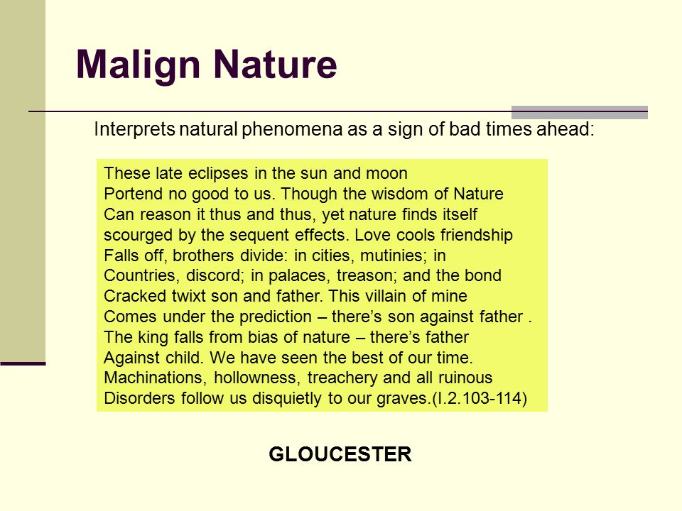Malign Nature GLOUCESTER