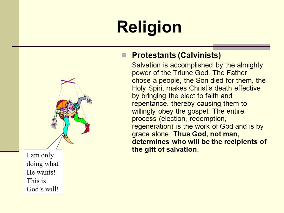 Religion Protestants (Calvinists)