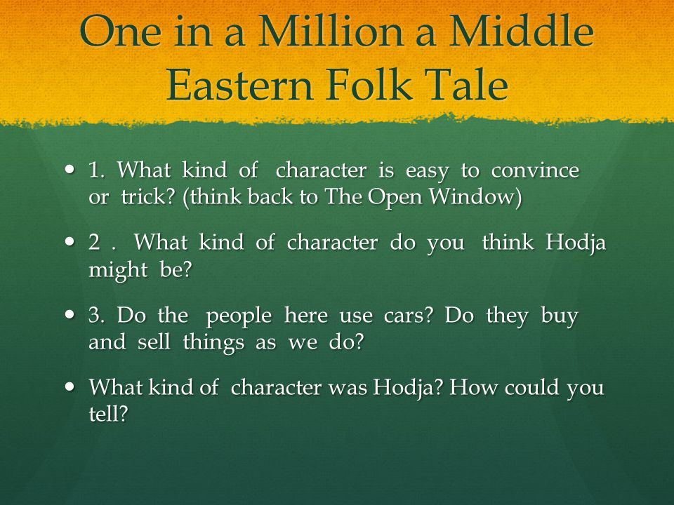 One in a Million a Middle Eastern Folk Tale