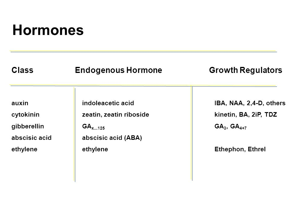 Hormones Class Endogenous Hormone Growth Regulators