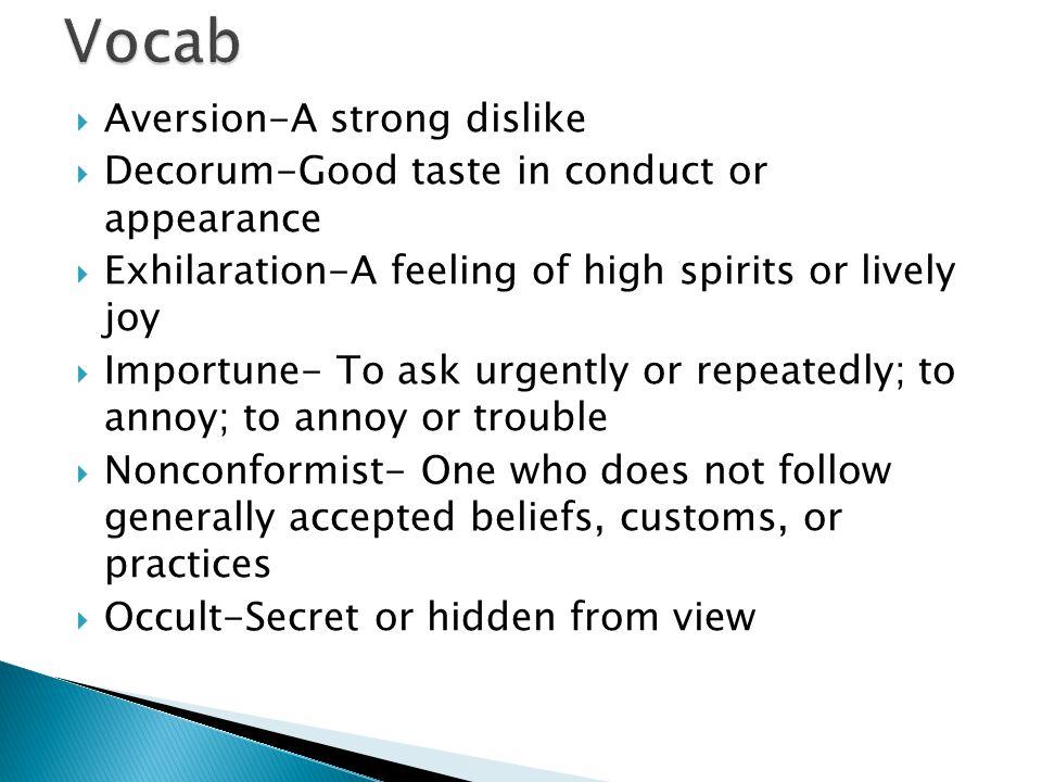 Vocab Aversion-A strong dislike