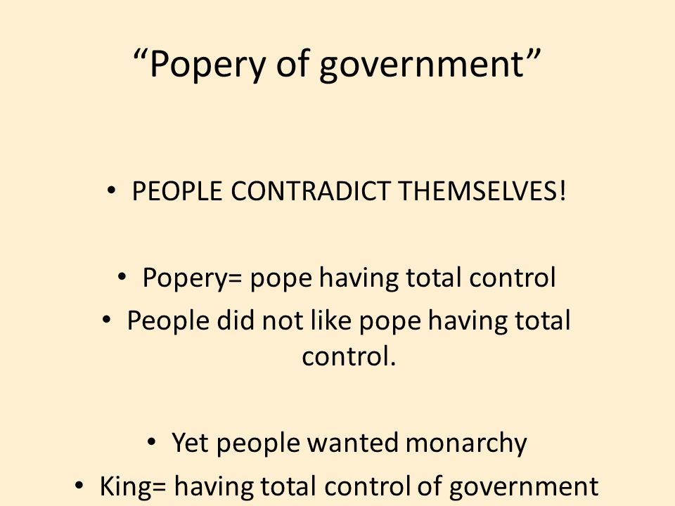 Popery of government