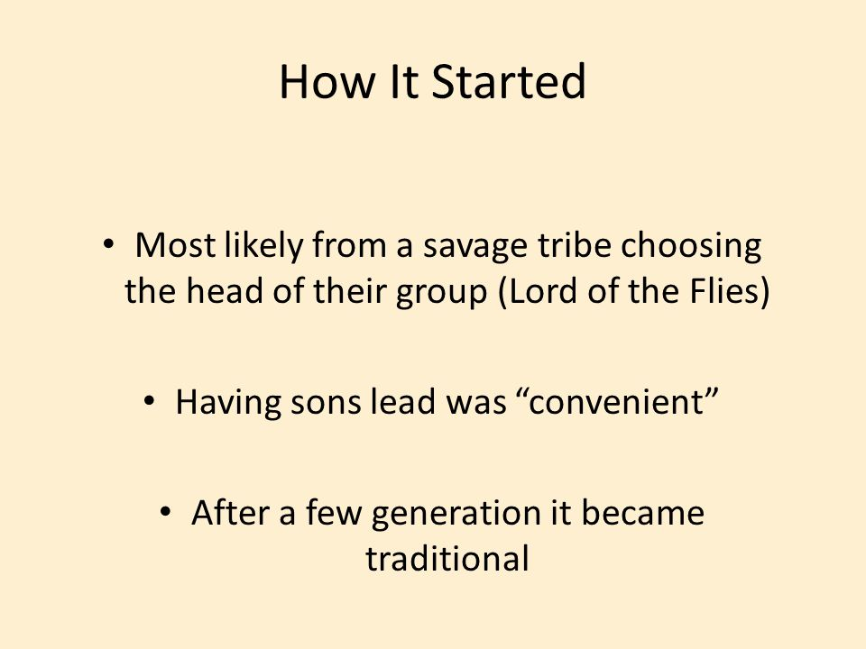 How It Started Most likely from a savage tribe choosing the head of their group (Lord of the Flies)