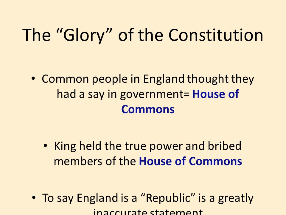 The Glory of the Constitution