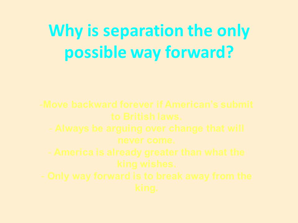 Why is separation the only possible way forward