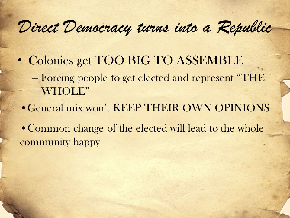 Direct Democracy turns into a Republic