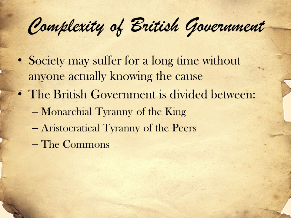 Complexity of British Government