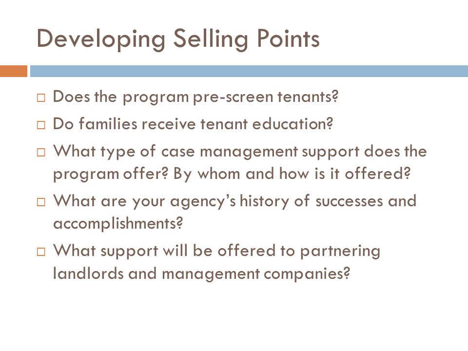 Developing Selling Points