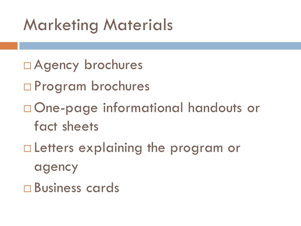 Marketing Materials Agency brochures Program brochures