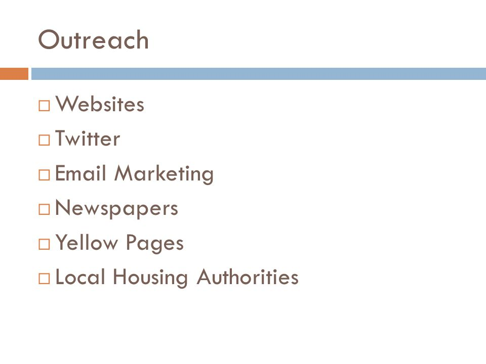 Outreach Websites Twitter Email Marketing Newspapers Yellow Pages