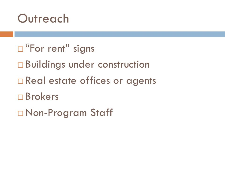 Outreach For rent signs Buildings under construction