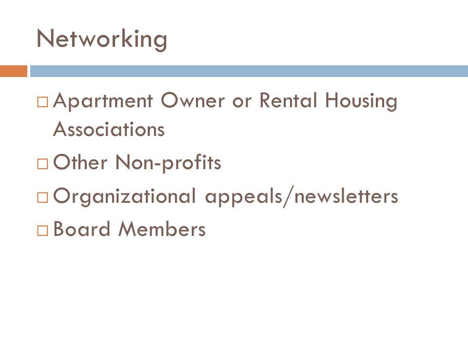 Networking Apartment Owner or Rental Housing Associations