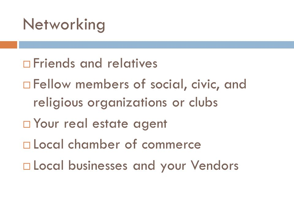 Networking Friends and relatives