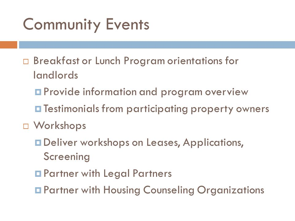 Community Events Breakfast or Lunch Program orientations for landlords