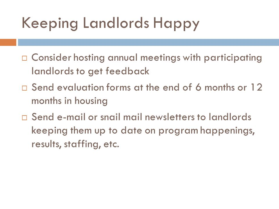 Keeping Landlords Happy