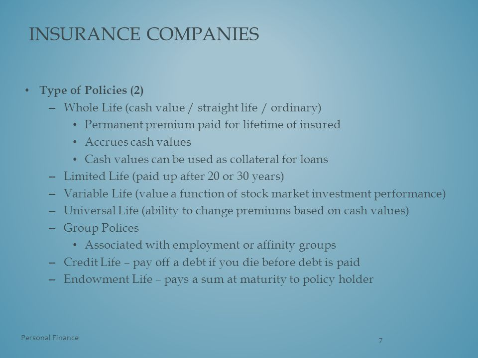 insurance companies Type of Policies (2)