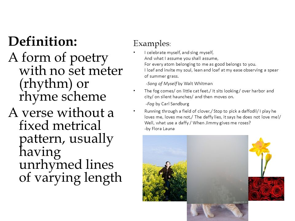 A form of poetry with no set meter (rhythm) or rhyme scheme