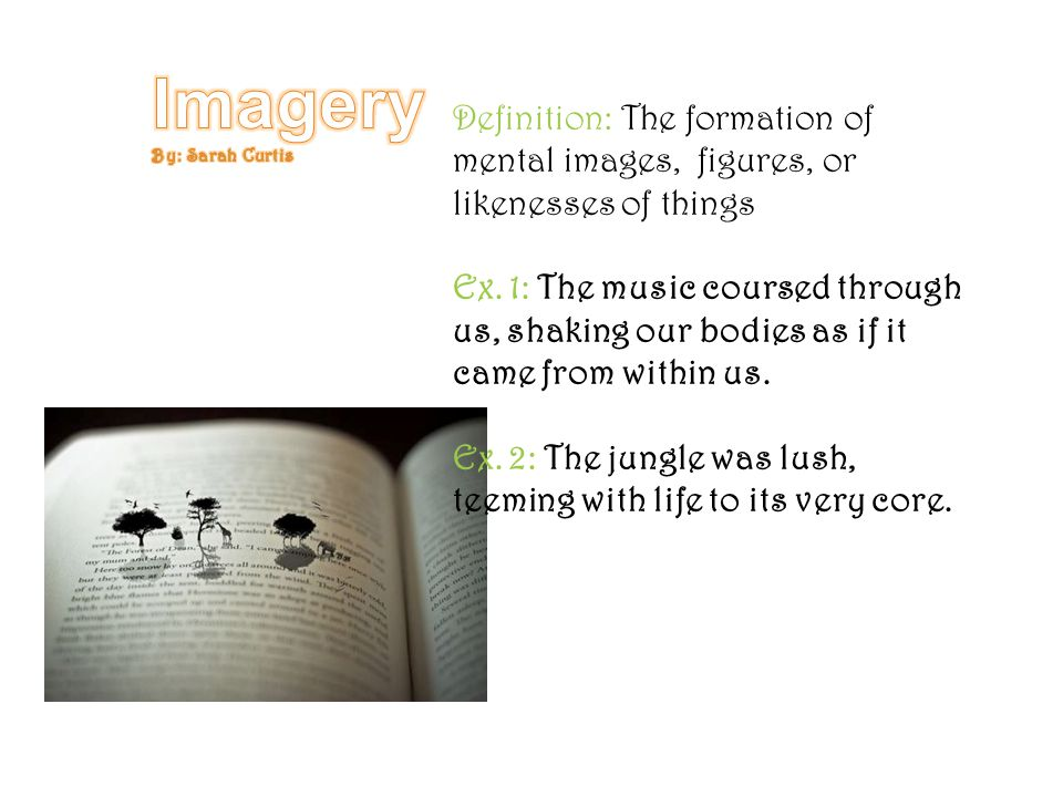 Imagery By: Sarah Curtis. Definition: The formation of mental images, figures, or likenesses of things.