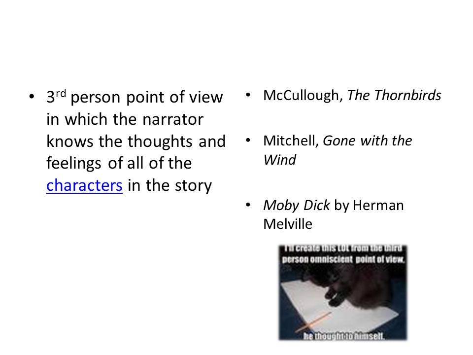 3rd person point of view in which the narrator knows the thoughts and feelings of all of the characters in the story