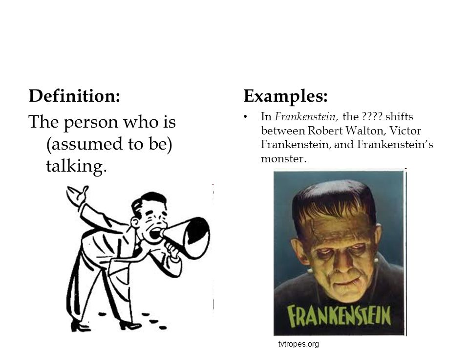 The person who is (assumed to be) talking. Examples: