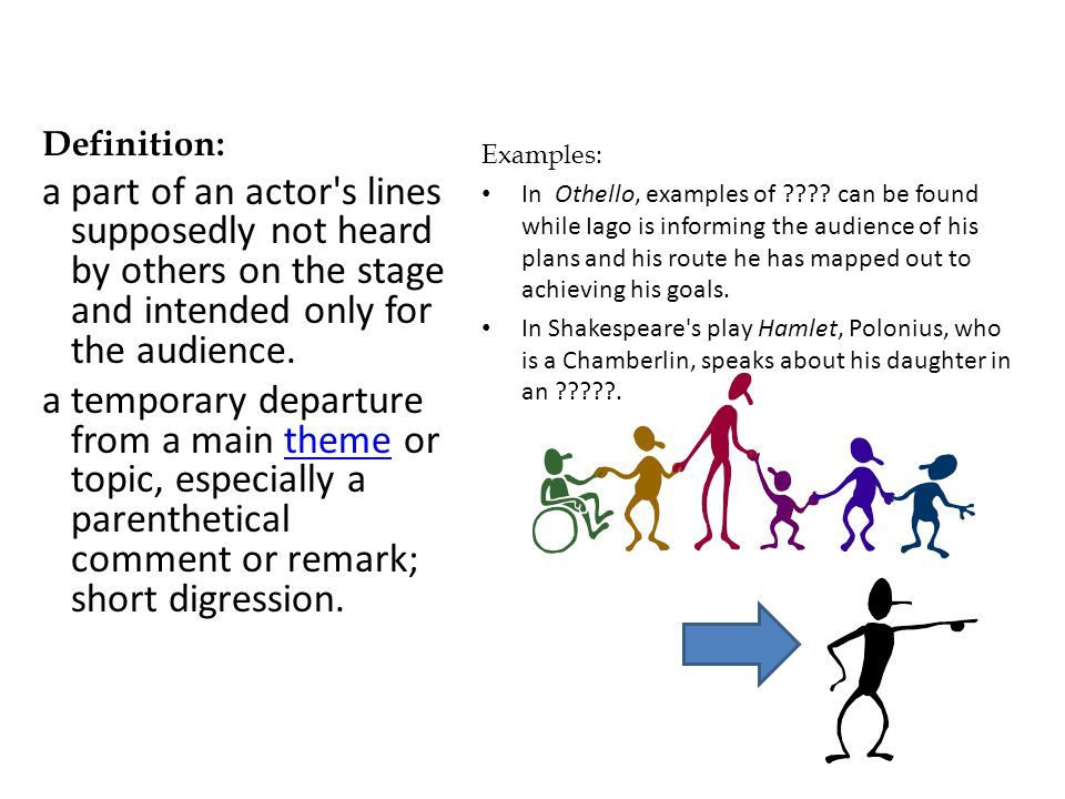 Definition: a part of an actor s lines supposedly not heard by others on the stage and intended only for the audience.
