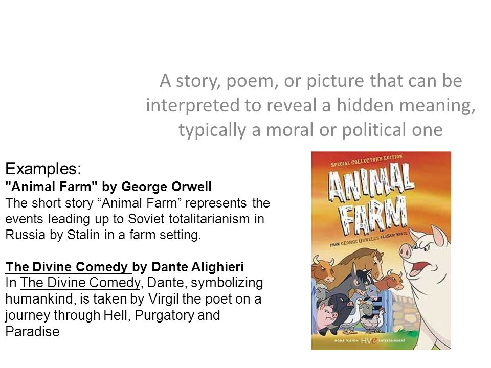 a comparison of allegories in the pilgrims progress by john bunyan and animal farm by george orwell Allegory and symbolism: deciphering the chronicles  in john bunyan's the pilgrim's progress,  george orwell's animal farm is a.