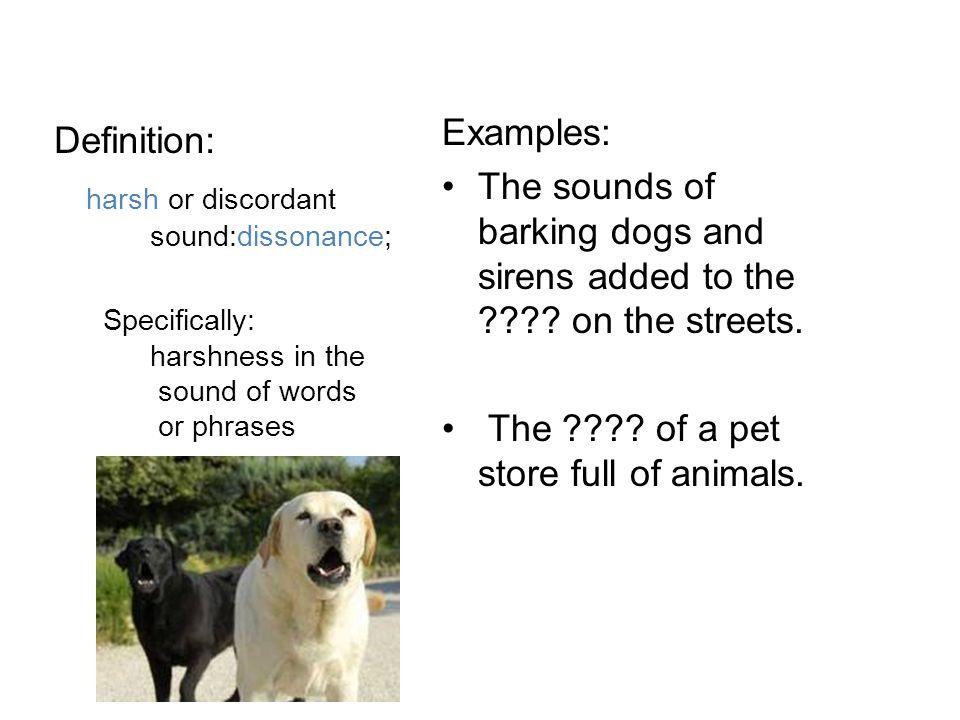 harsh or discordant sound:dissonance;