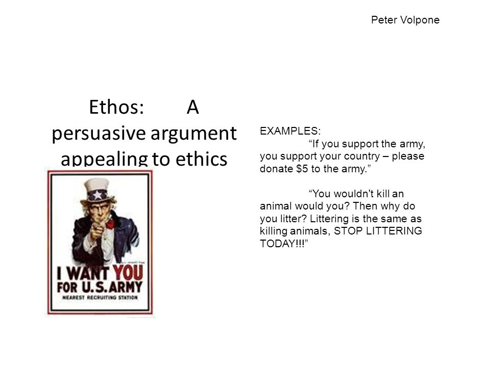 Ethos: A persuasive argument appealing to ethics
