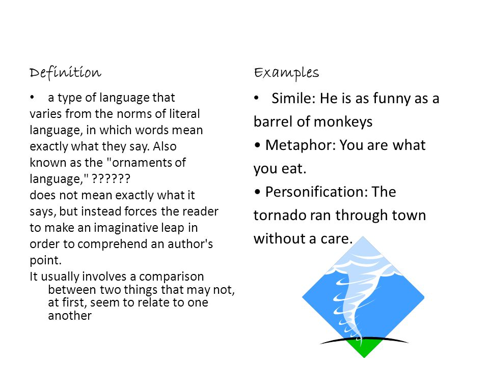 Simile: He is as funny as a barrel of monkeys • Metaphor: You are what