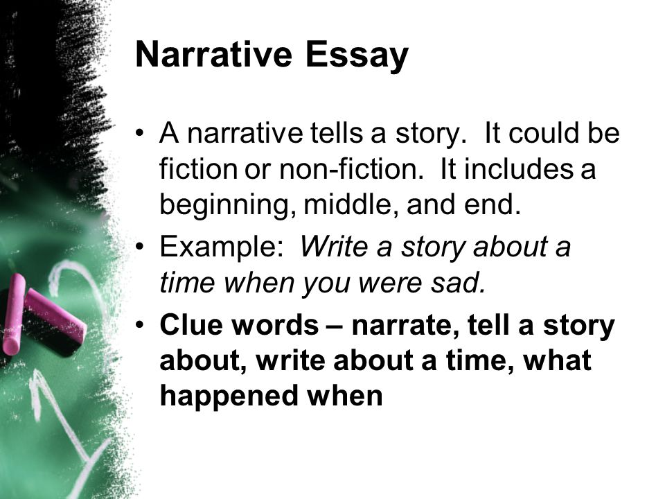 Narrative Essay A narrative tells a story. It could be fiction or non-fiction. It includes a beginning, middle, and end.
