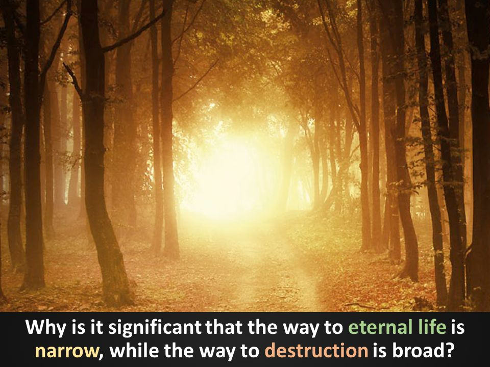 Why is it significant that the way to eternal life is narrow, while the way to destruction is broad