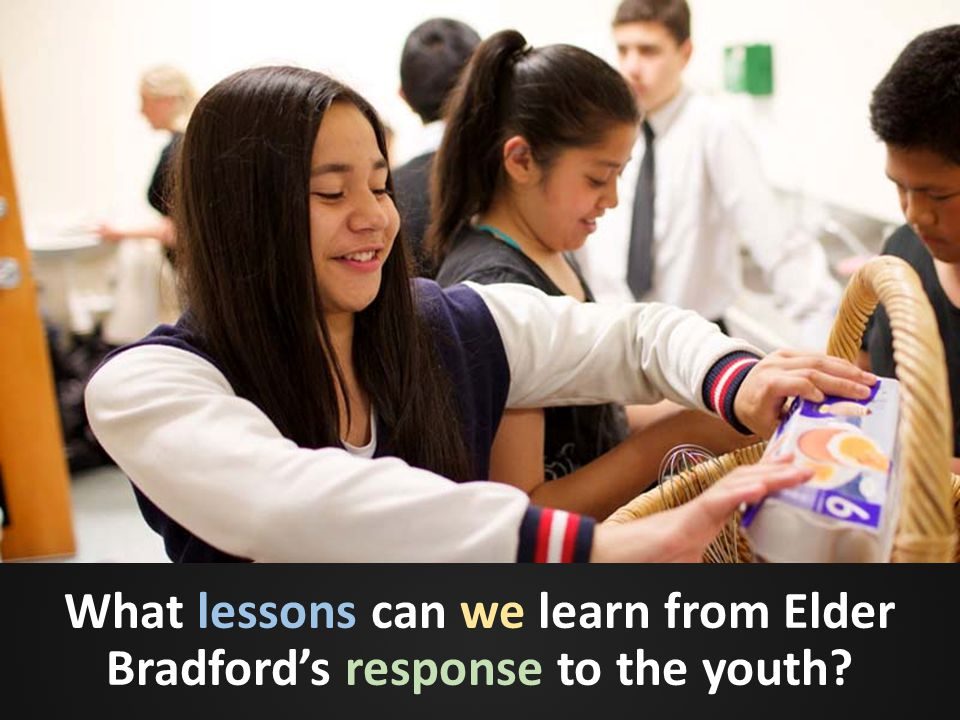 What lessons can we learn from Elder Bradford's response to the youth