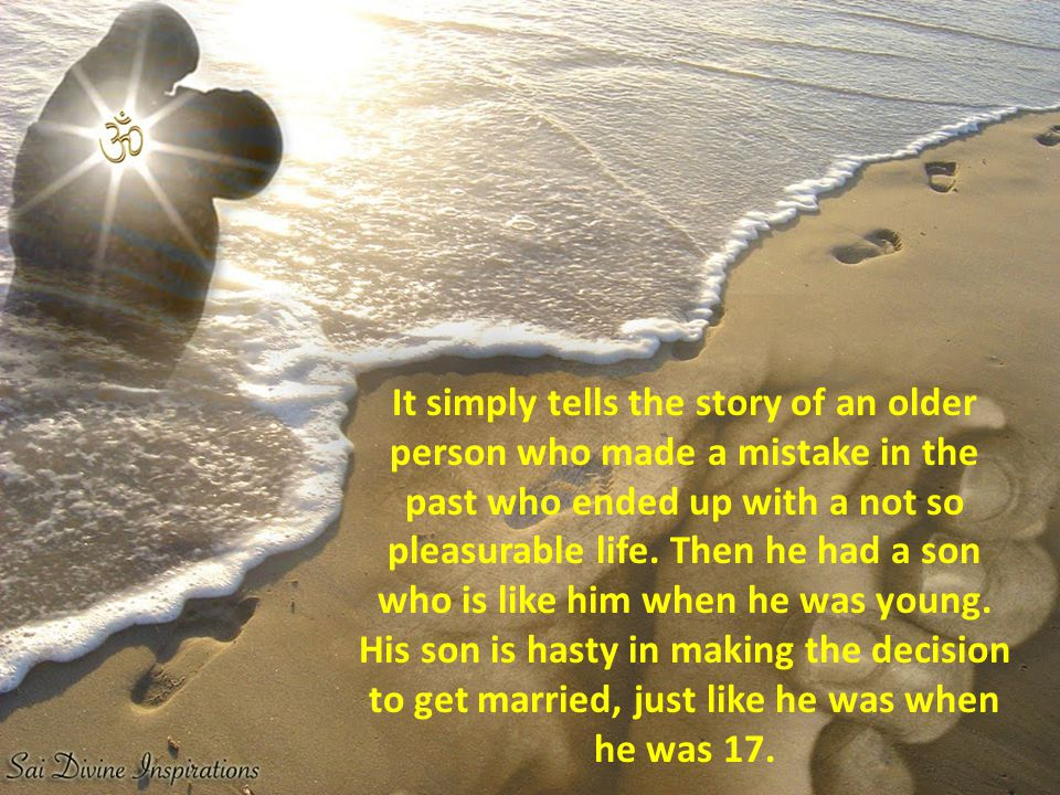 It simply tells the story of an older person who made a mistake in the past who ended up with a not so pleasurable life.