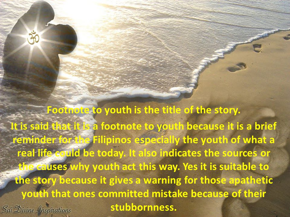 Footnote to youth is the title of the story.