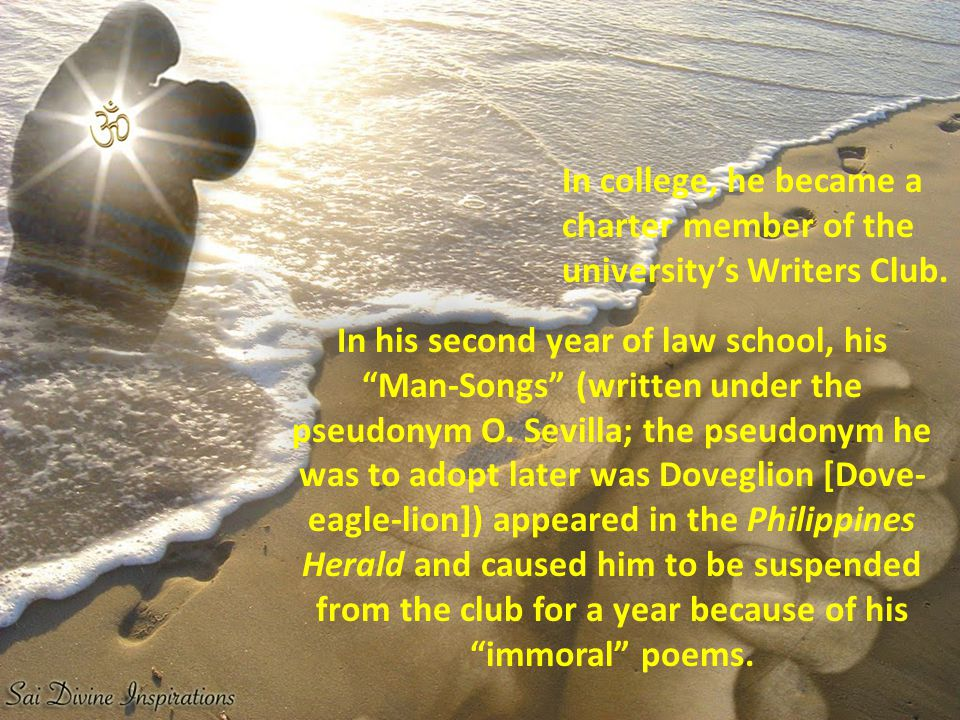In college, he became a charter member of the university's Writers Club.
