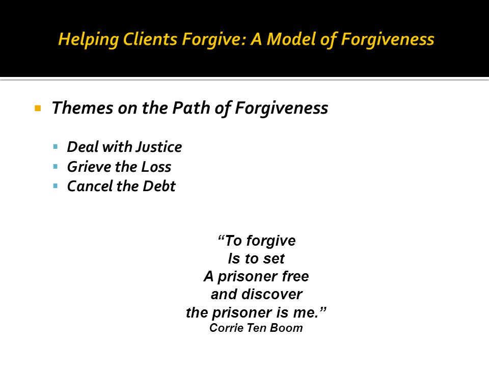 Helping Clients Forgive: A Model of Forgiveness