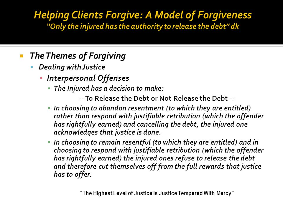Helping Clients Forgive: A Model of Forgiveness Only the injured has the authority to release the debt dk