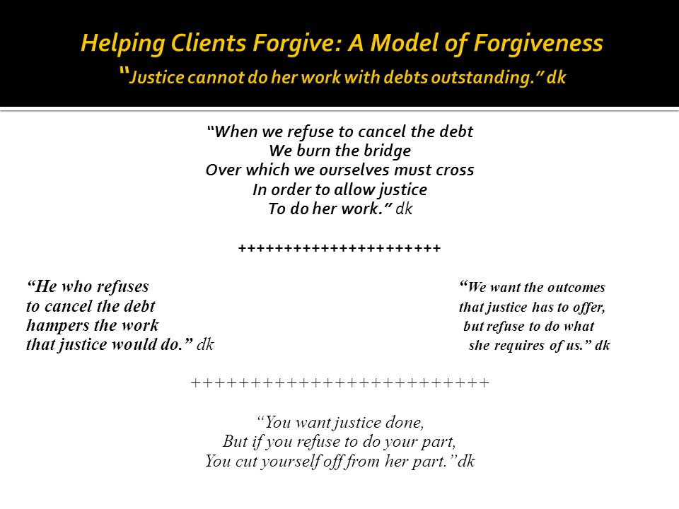 Helping Clients Forgive: A Model of Forgiveness Justice cannot do her work with debts outstanding. dk
