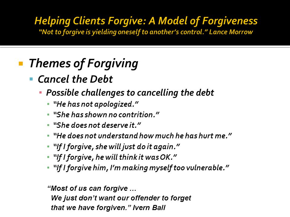 Helping Clients Forgive: A Model of Forgiveness Not to forgive is yielding oneself to another's control. Lance Morrow
