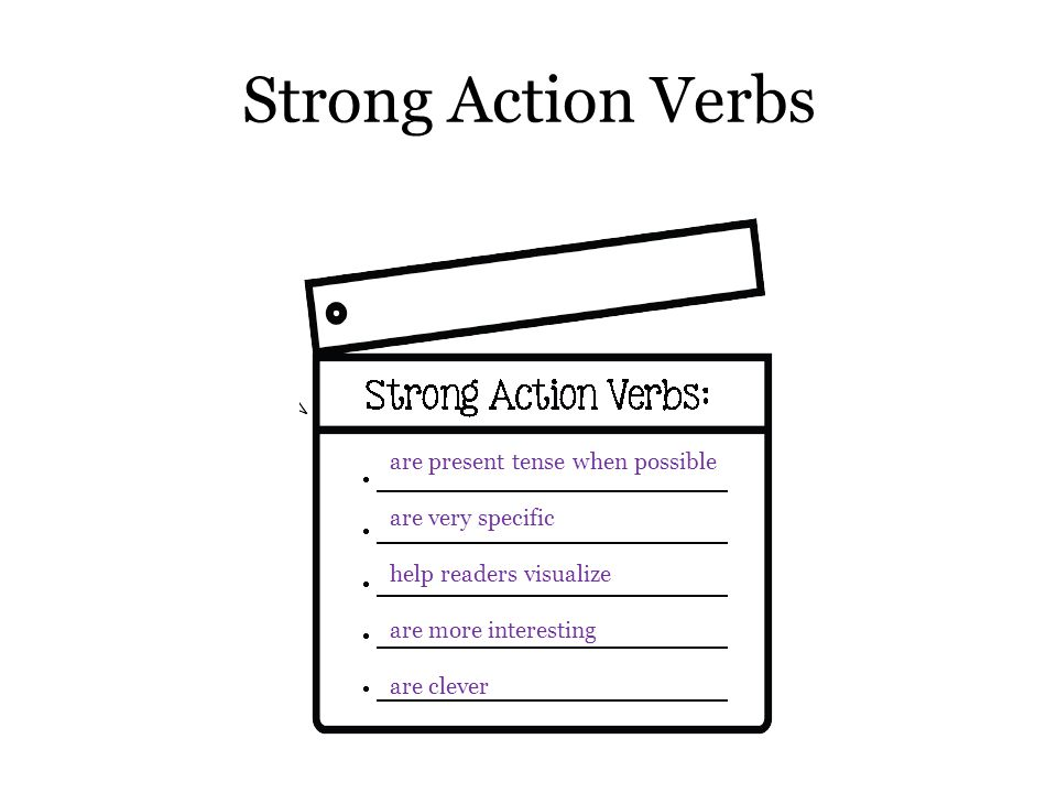 Strong Action Verbs are present tense when possible are very specific