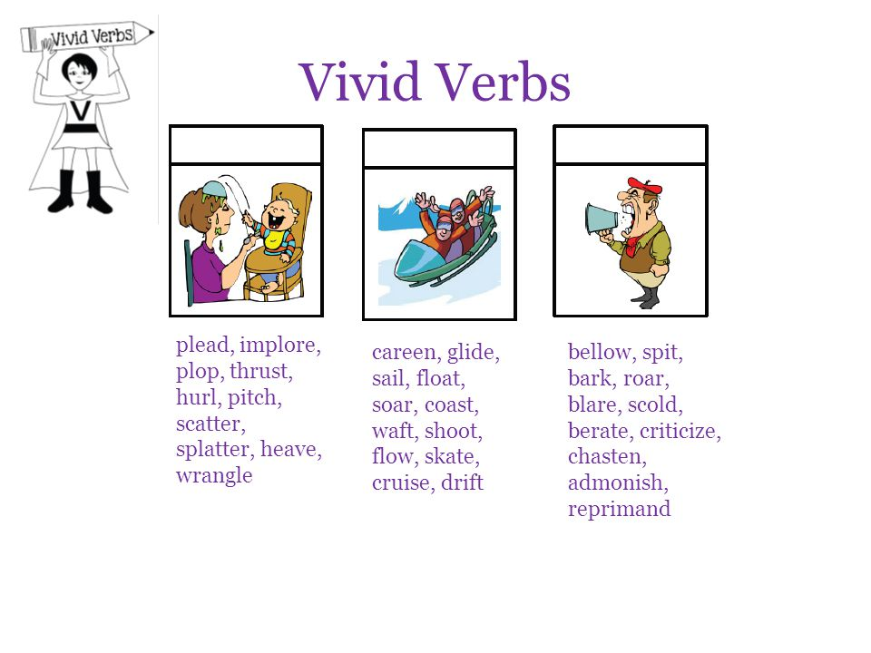Vivid Verbs plead, implore, plop, thrust, hurl, pitch, scatter, splatter, heave, wrangle.