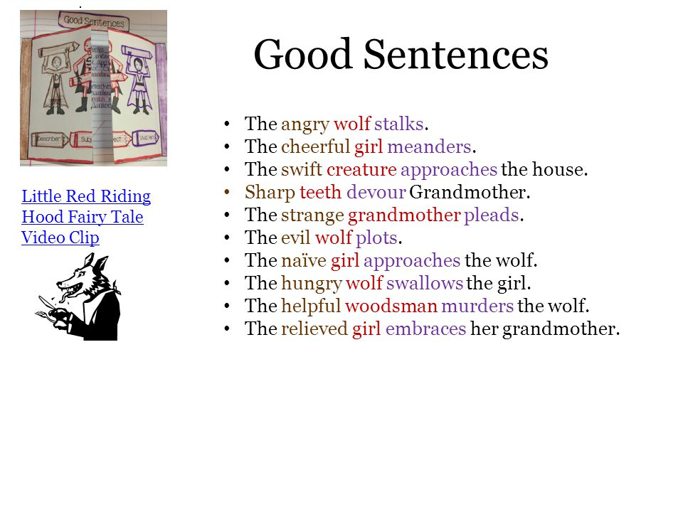 Good Sentences The angry wolf stalks. The cheerful girl meanders.