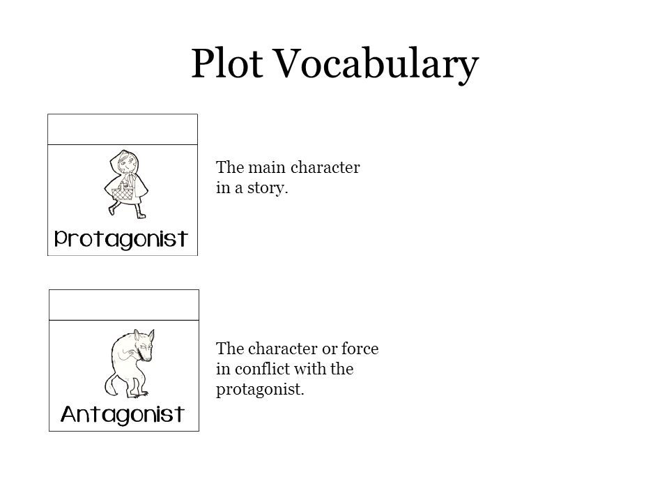 Plot Vocabulary The main character in a story.
