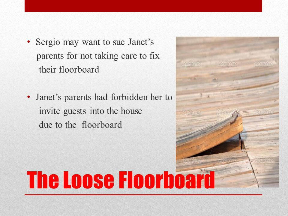 The Loose Floorboard Sergio may want to sue Janet's