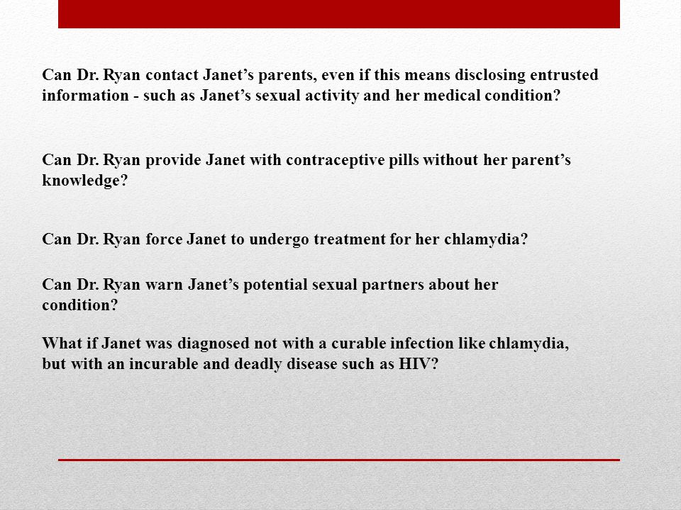Can Dr. Ryan contact Janet's parents, even if this means disclosing entrusted information - such as Janet's sexual activity and her medical condition