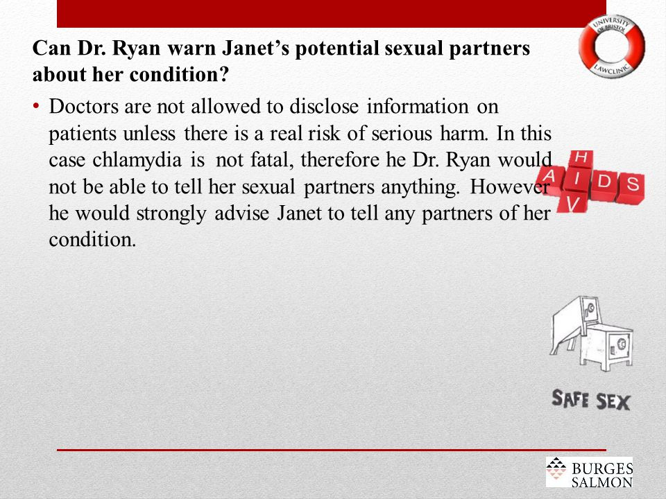 Can Dr. Ryan warn Janet's potential sexual partners about her condition