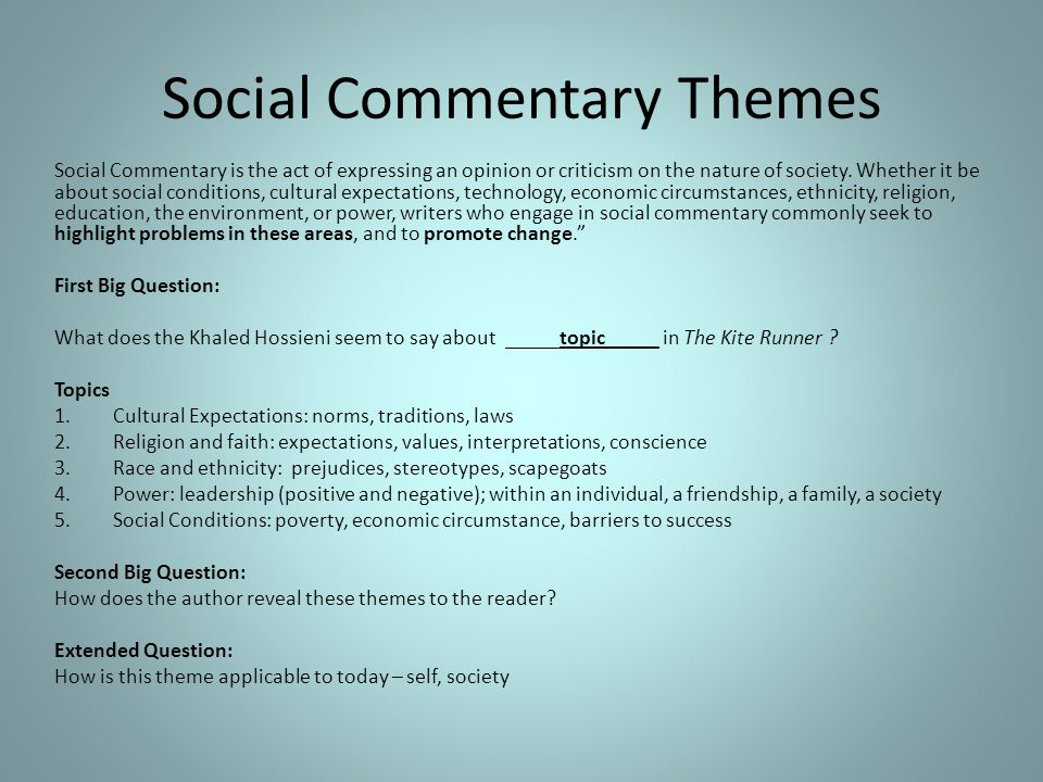 Social Commentary Themes